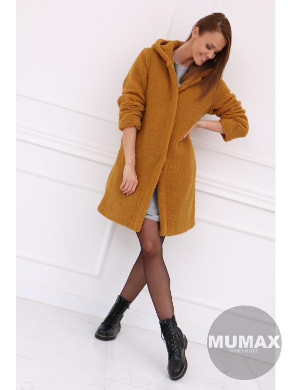 Horčicový oversize huňatý kabát