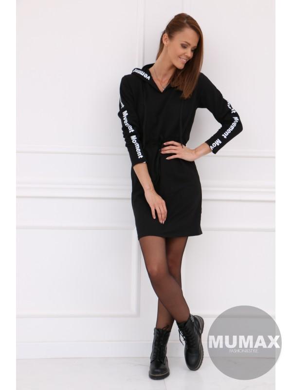 Dámske čierné mikino-šaty