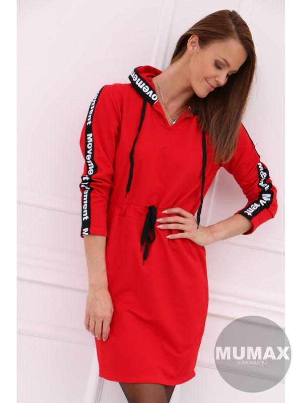 Dámske červené mikino-šaty