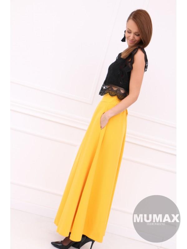 Dámska žltá elegentná sukňa
