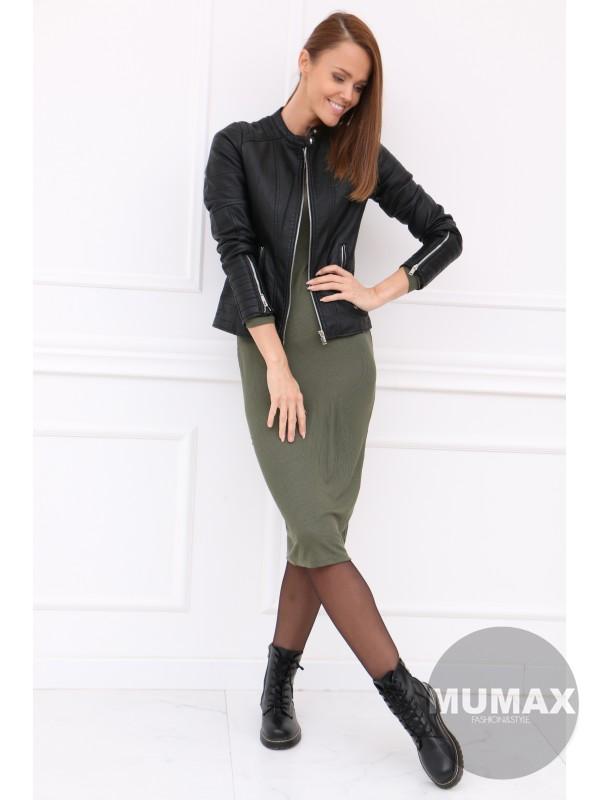 Dámska čierná koženková bunda