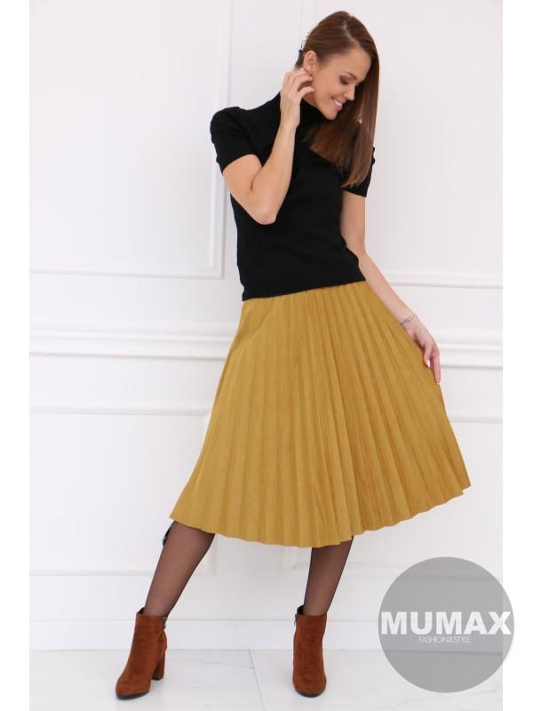 Žltá plisovaná sukňa