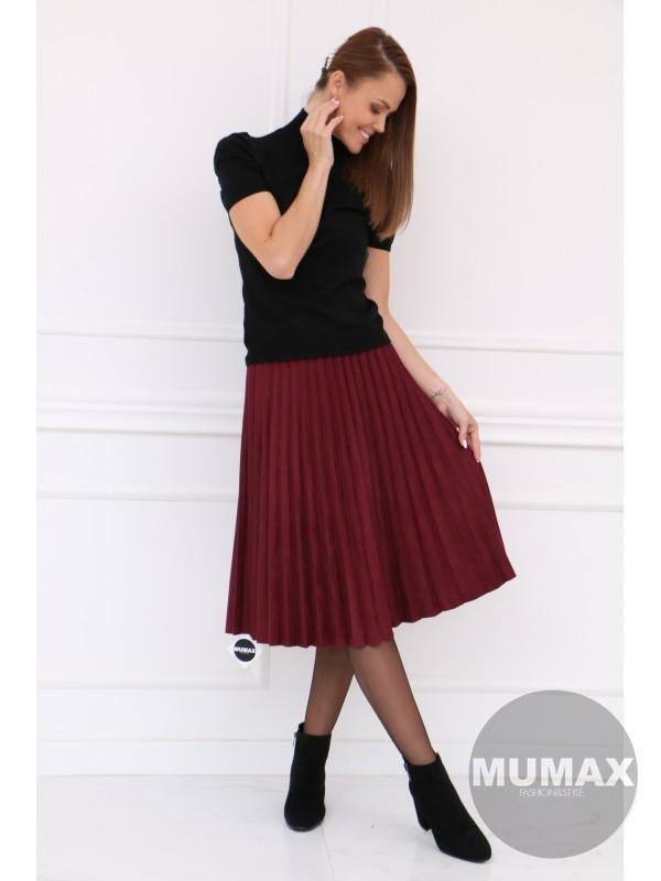 Bordová plisovaná sukňa