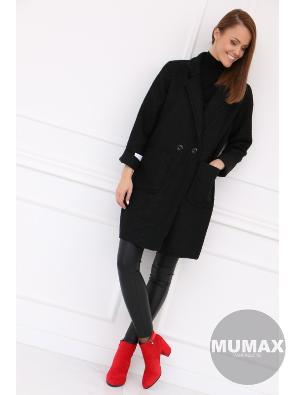 Dámsky čierný kabát