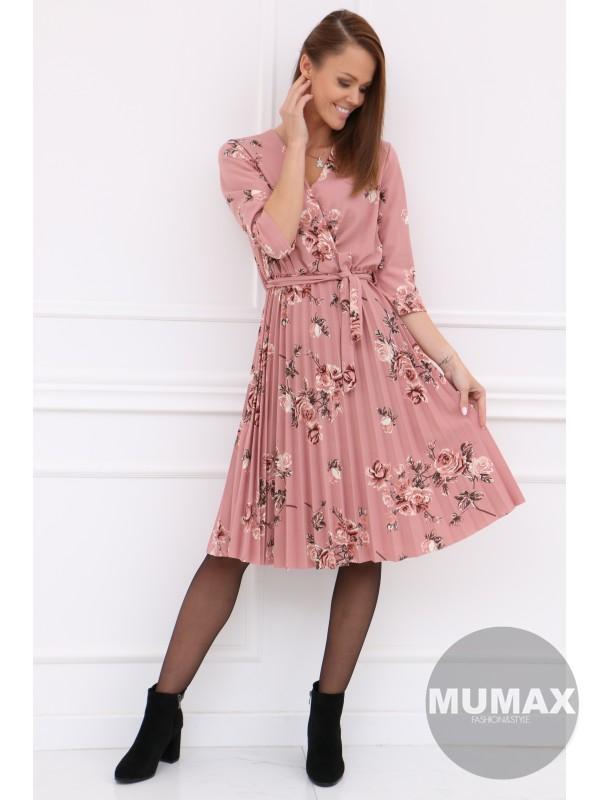 Plisované ružové šaty