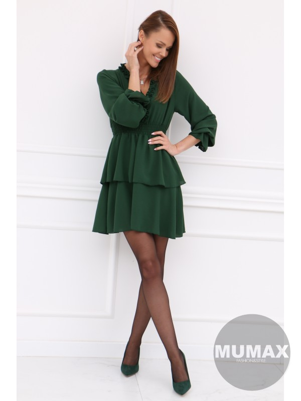 Tmavozelené šaty s nariasenou sukňou