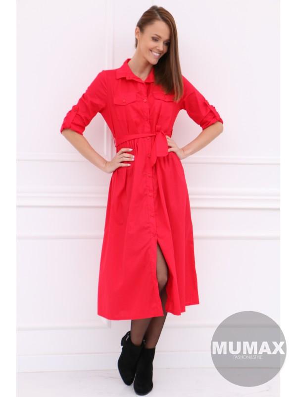 Červené košeľové šaty