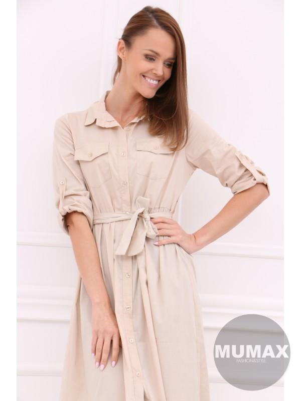 Béžove košeľové šaty