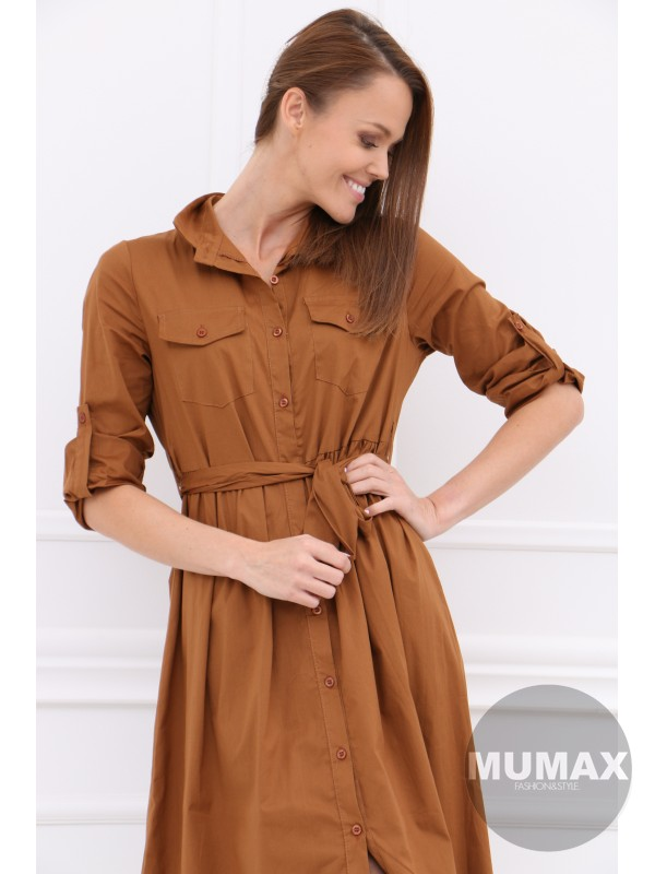 Hnedé košeľové šaty