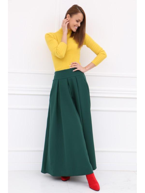 Dámska smaragdová elegantná sukňa