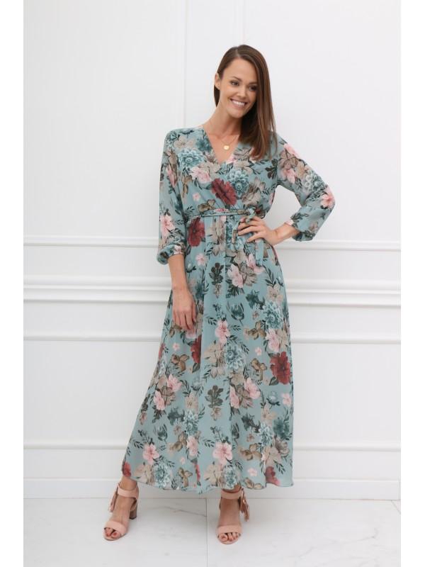 Mintové šaty kvet