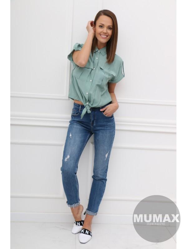 Mintová crop top košeľa