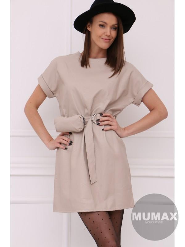 Béžove koženkové šaty s ľadvinkou