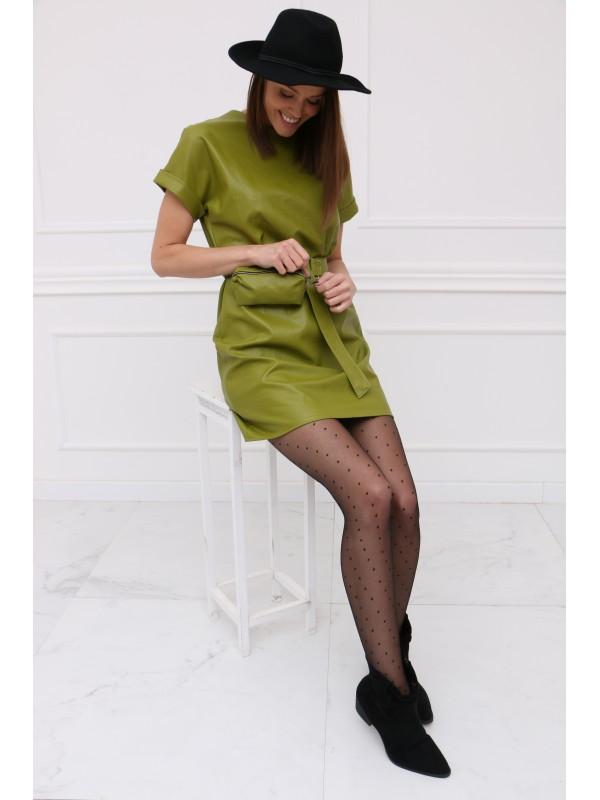 Zelené koženkové šaty s ľadvinkou