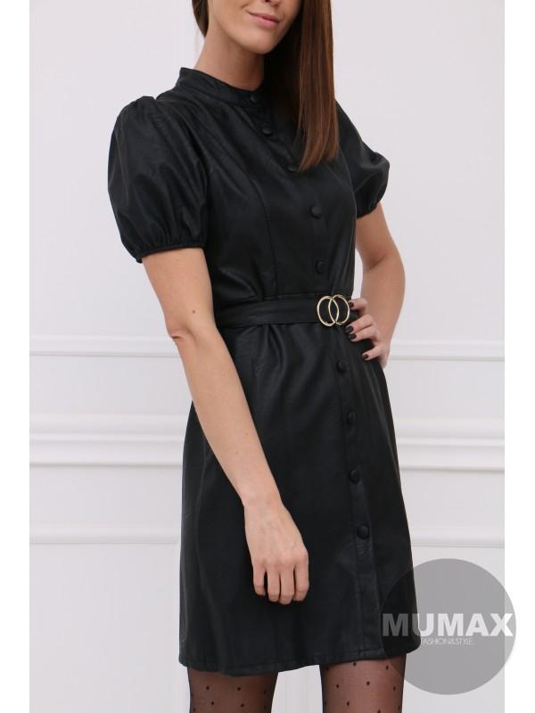 Čierné koženkové šaty s opaskom