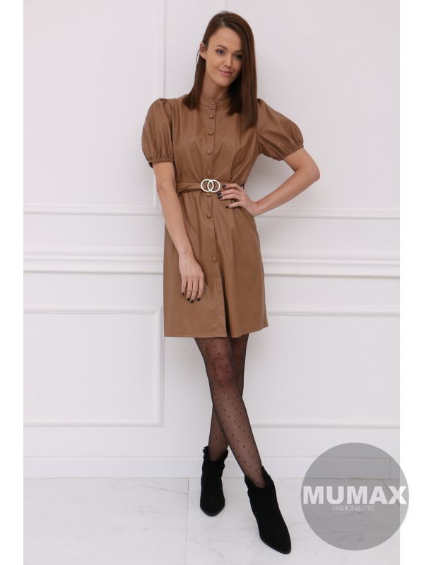 Hnedé koženkové šaty s opaskom