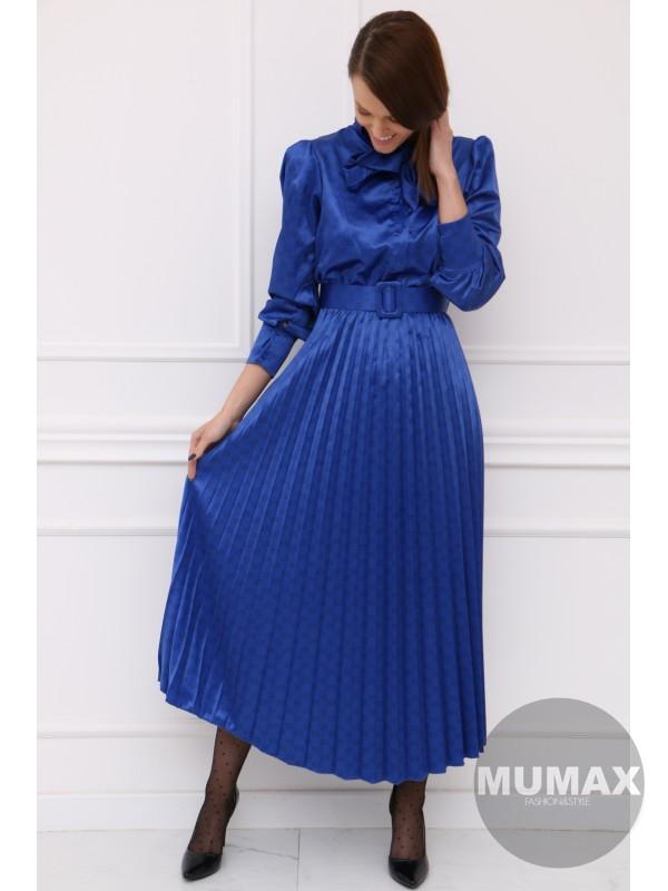 Kráľovsky modré plisované midi šatky