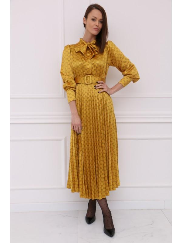 Žlté plisované midi šatky