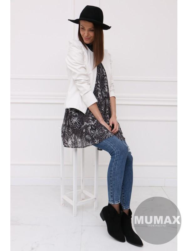 Bielé koženkové sako