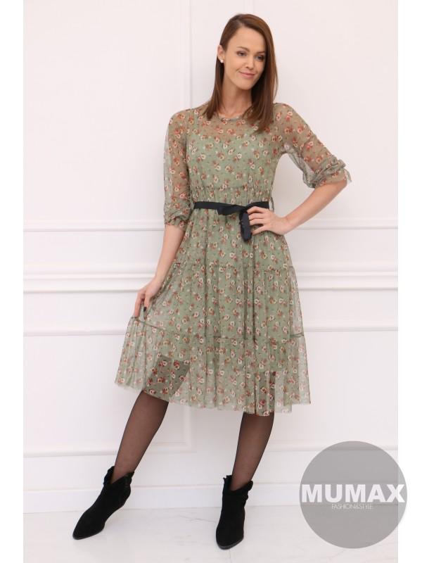 Zelené kvetované šaty