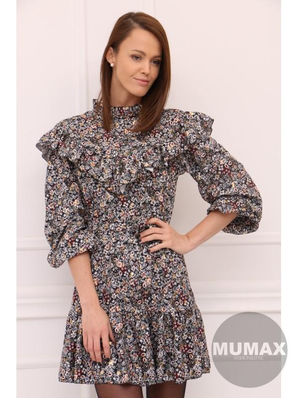 Kvetované šaty s volánom