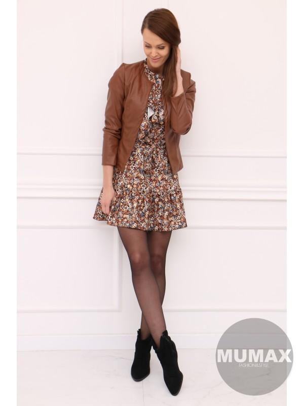 Hnedé koženkové sako