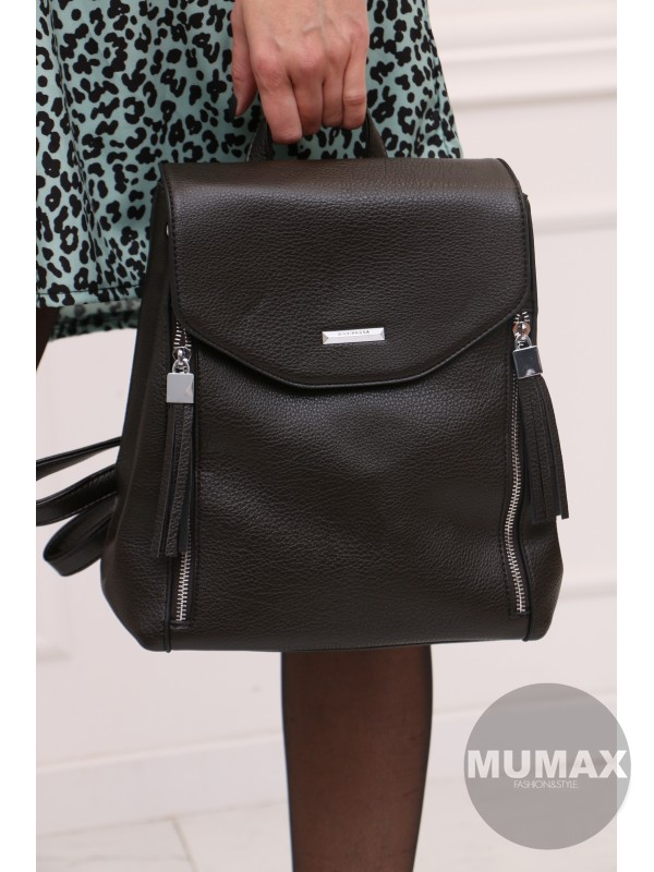 Módny ruksak tmavohnedý