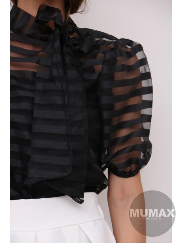 Trendy čierný top s mašľou
