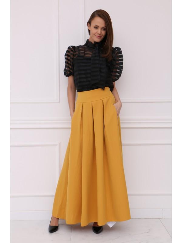 Dámska žltá elegantná sukňa