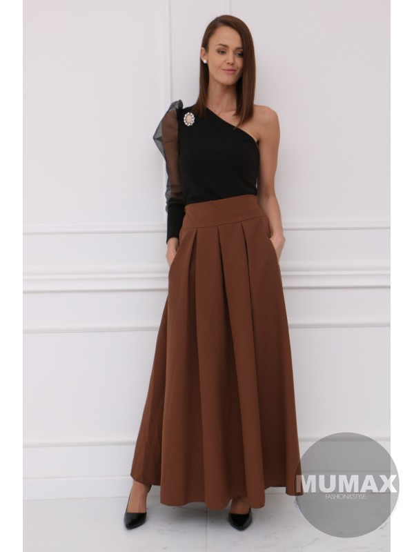 Dámska hnedá elegantná sukňa