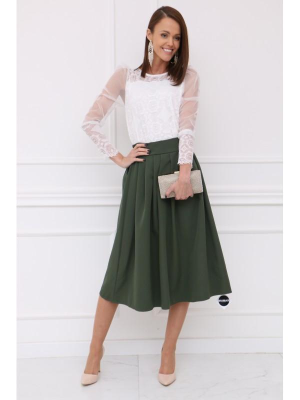 Dámska olivovo zelená sukňa