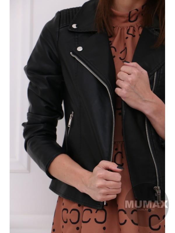 Čierná koženková bundička