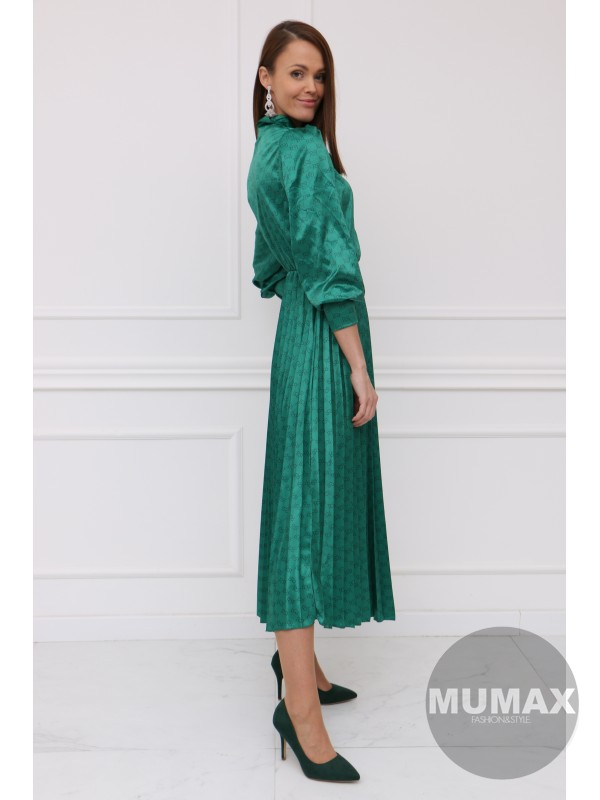 Smaragdové plisované midi šatky