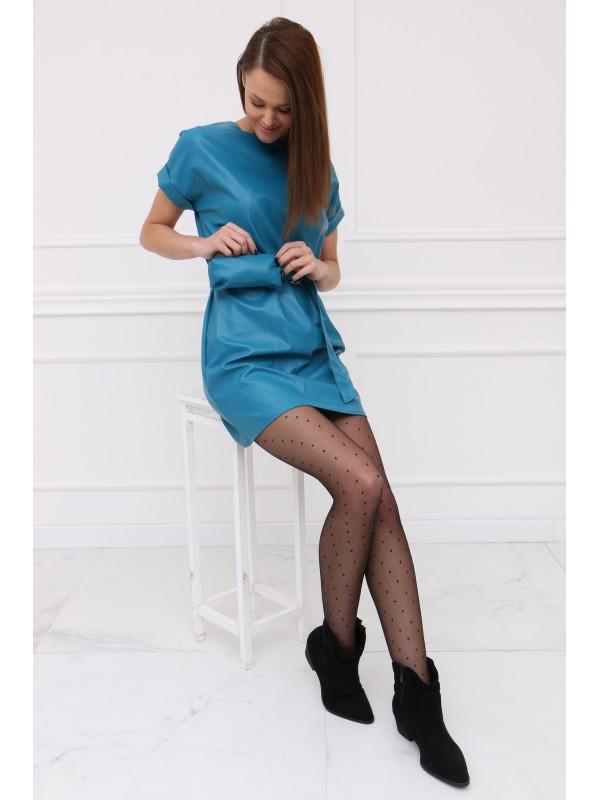 Modré koženkové šaty s ľadvinkou