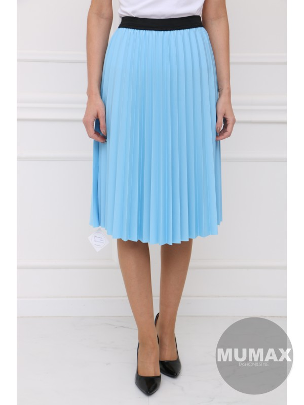 Bledomodrá plisovaná sukňa
