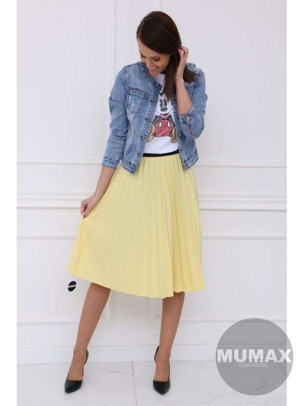 Bledožltá plisovaná sukňa