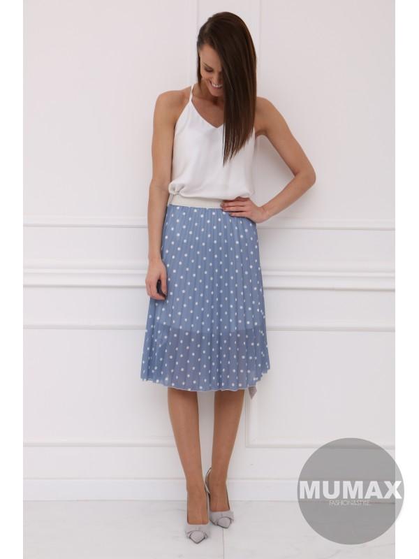 Modrá bodkovaná sukňa