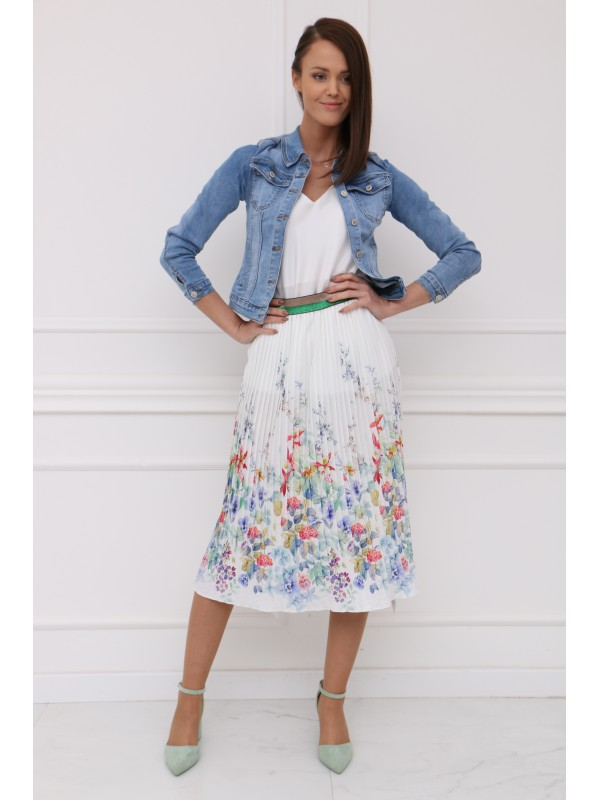 Bielá plisovaná sukňa s kvetmi