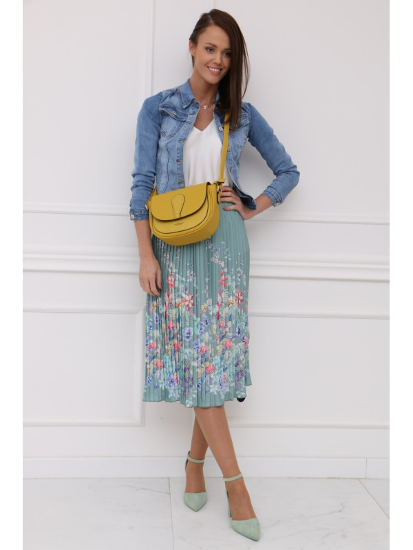 Mintová plisovaná sukňa s kvetmi