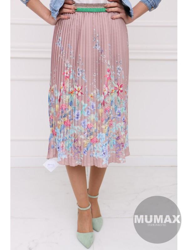 Ružová plisovaná sukňa s kvetmi