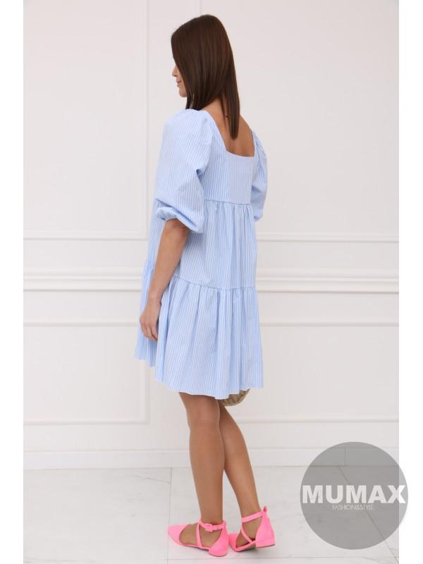 Bledomodré šaty pásik