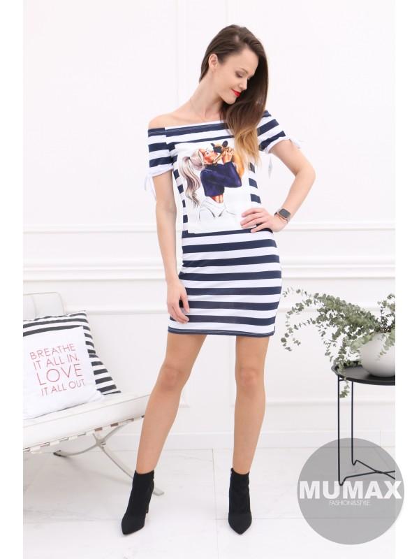 Pásikavé šaty s potlačou