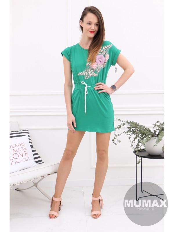 Zelené šaty s 3D kvetmi