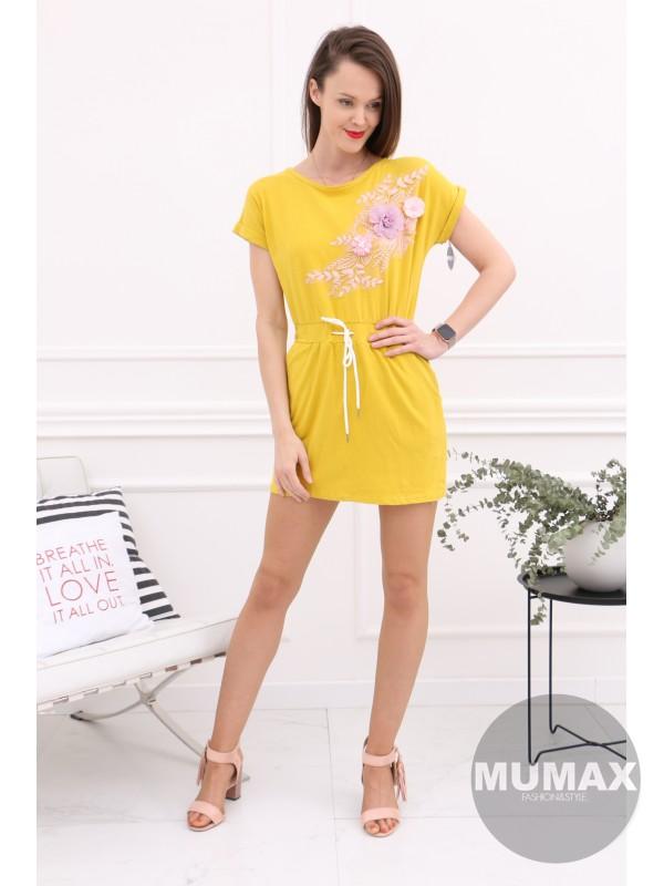 c75a5d258004 Žlté šaty s 3D kvetmi