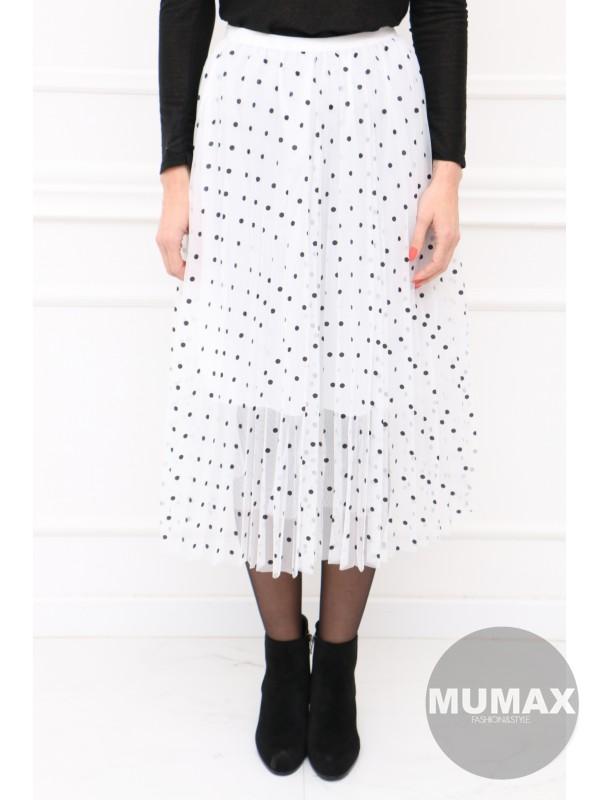 Biela plisovaná suknička s bodkami