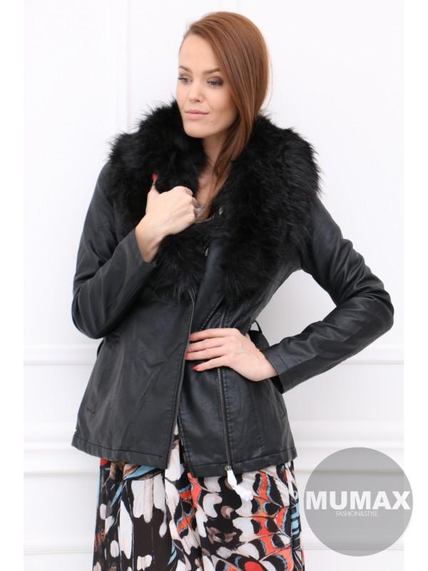 Čierná kožená bunda s kožuštekom