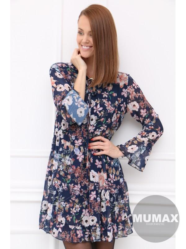 Tmavomodré kvetinové šaty