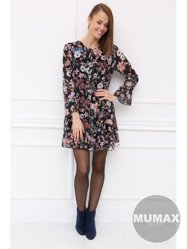 Čierné kvetinové šaty
