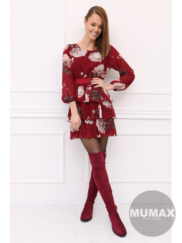 Bordové šaty kvet