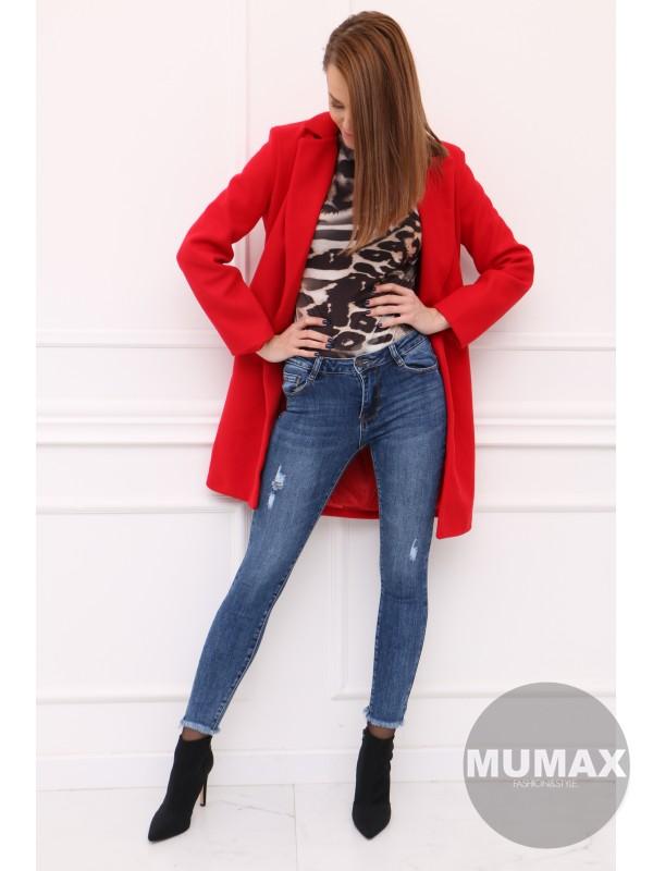 Elegantný červený kabát
